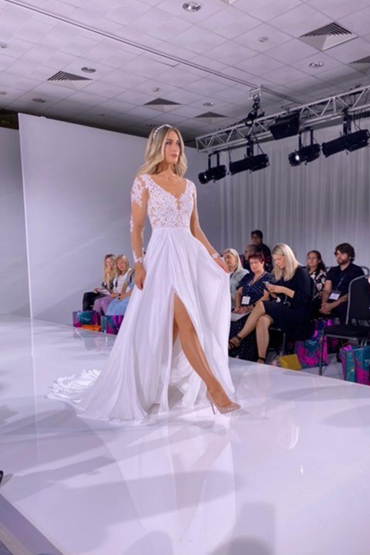 leg split dress from Opus Couture - Harrogate Bridal Show